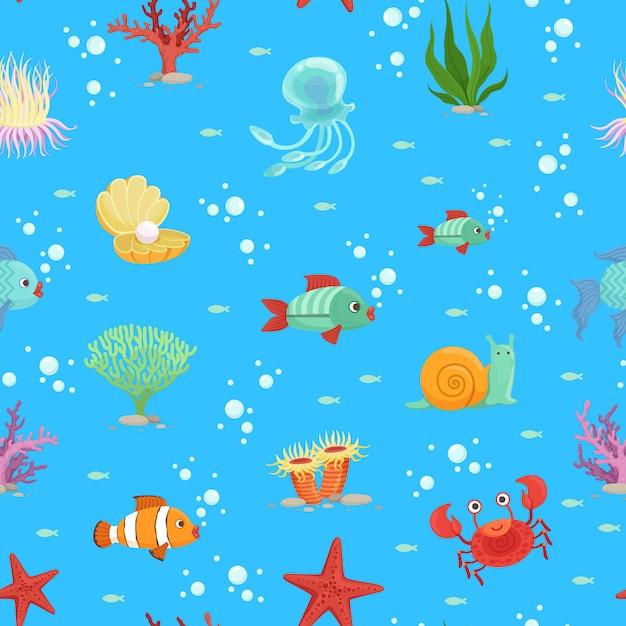 Cartoon underwater creatures and seaweed seamless pattern Premium Vector