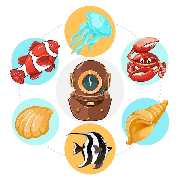 Cartoon underwater life concept with diver helmet fish jellyfish shells and crab in colorful circles illustration Free Vector