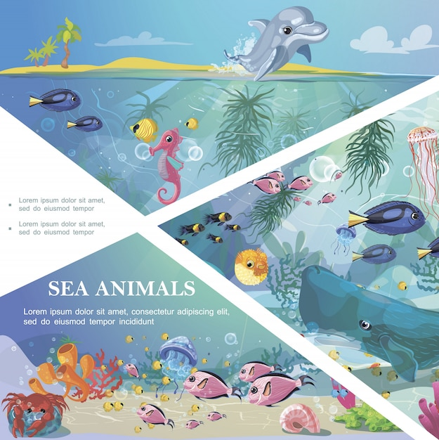 Cartoon underwater life template with sea animals creatures marine seaweeds and corals Free Vector