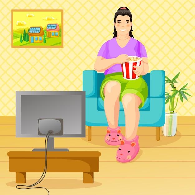 Мультфильм нездоровый образ жизни и концепция питания Бесплатные векторы