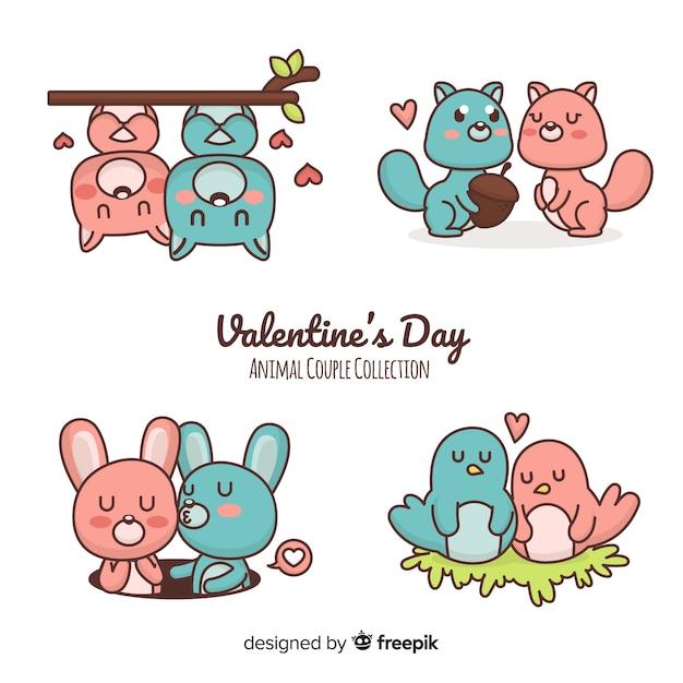 Cartoon valentine couple collection Free Vector