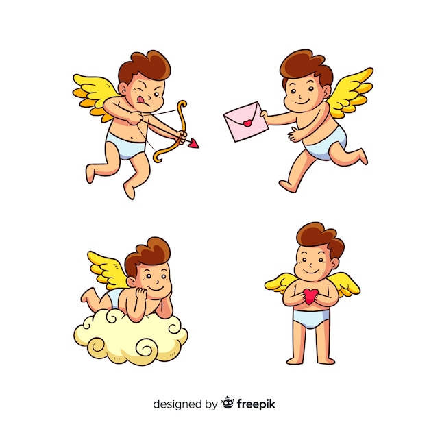 Cartoon valentine cupid collection Free Vector