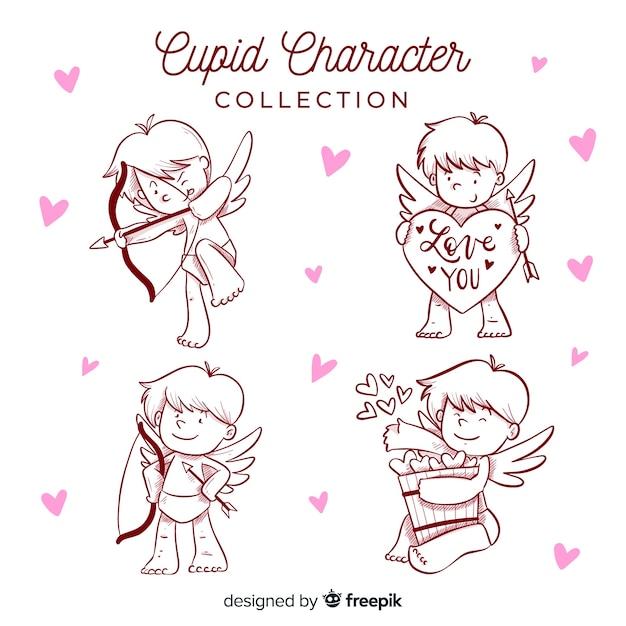 Cartoon valentine cupid pack Free Vector