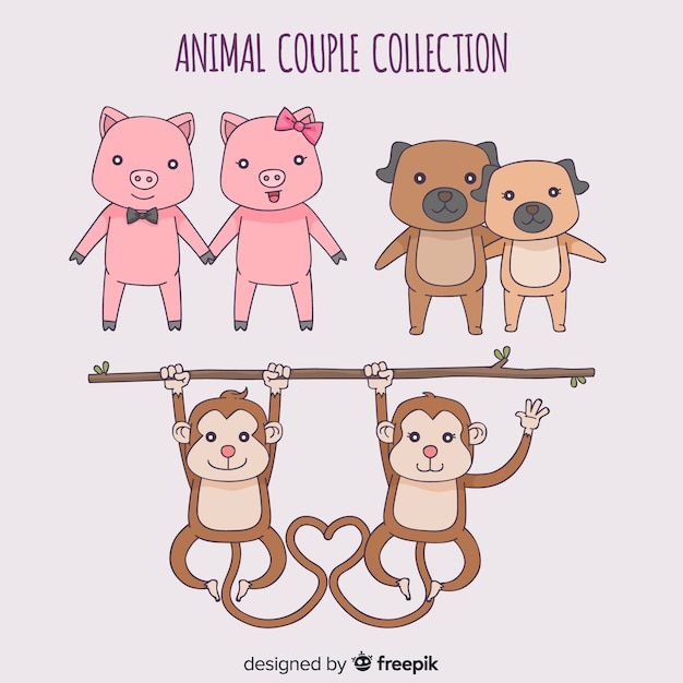 Cartoon valentine's day animal couple collection Free Vector