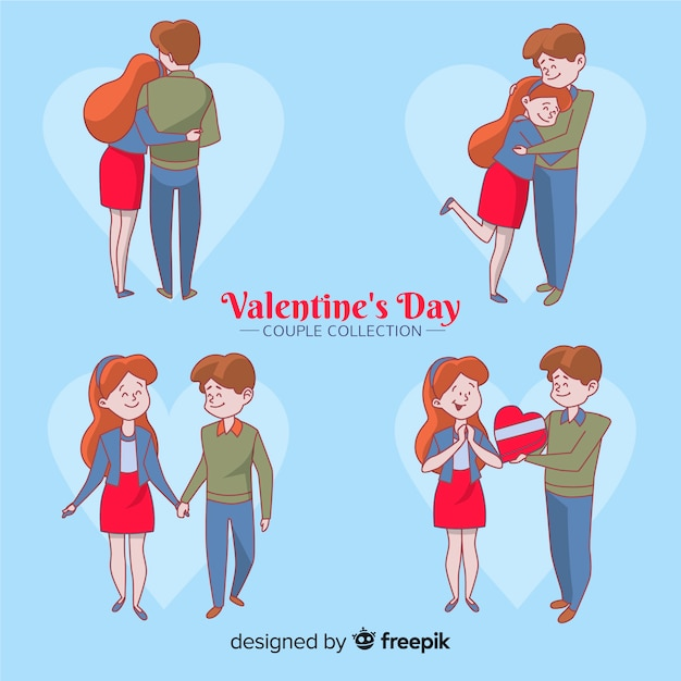 Cartoon valentine's day couple pack Free Vector