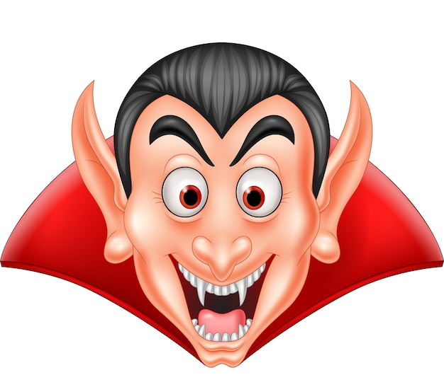 Cartoon vampire head isolated on white background Premium Vector