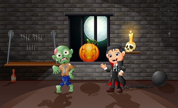 Cartoon of vampire and zombie in the house Premium Vector
