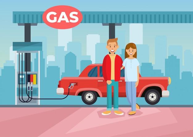 Cartoon vector illustration couple refilling car Premium Vector