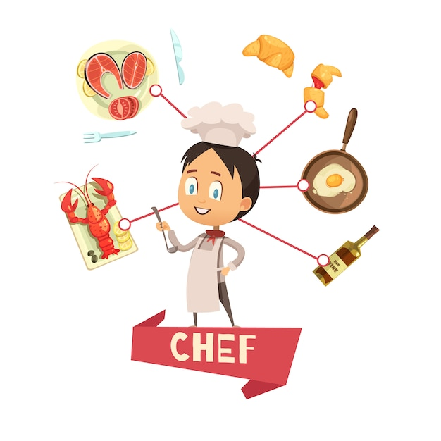 Cartoon vector illustration for kids with chef in apron and hat in center and food icons around Free Vector