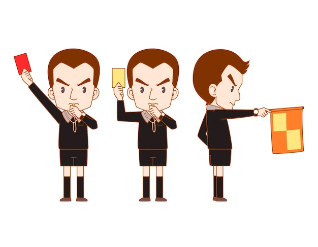 Cartoon vector of soccer referee holding red card, yellow card and flag. Premium Vector