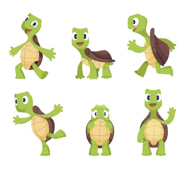Cartoon vector turtle in various action poses Premium Vector