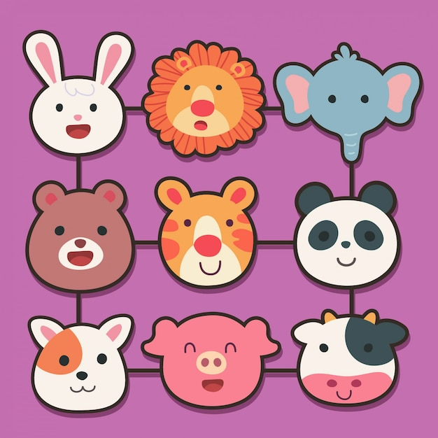 Cartoon Vector With Animals Face Premium Vector