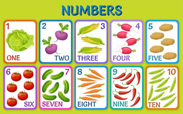 漫画の野菜。子供のカード番号。 無料ベクター