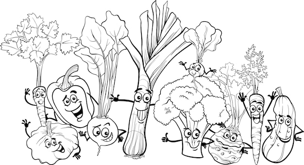 Cartoon Vegetables For Coloring Book Premium Vector