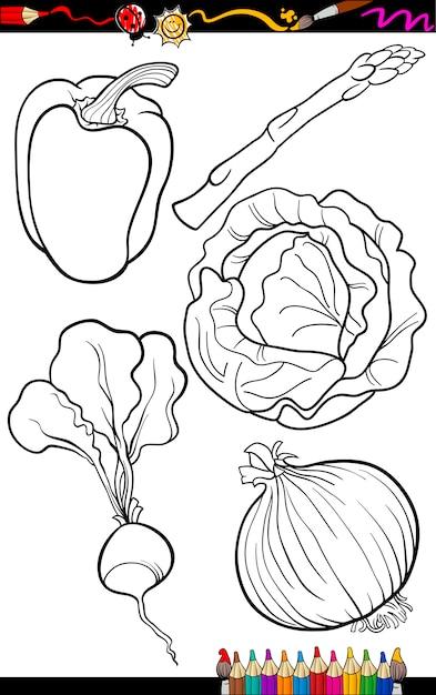 Cartoon Vegetables Set For Coloring Book Premium Vector