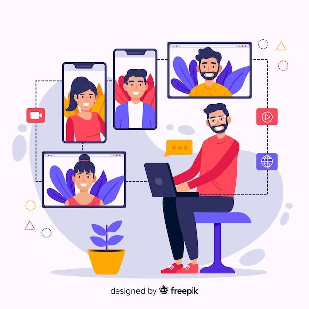 Cartoon video conferencing concept illustration Free Vector