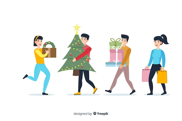 Cartoon wearing winter clothes and buying gifts Free Vector
