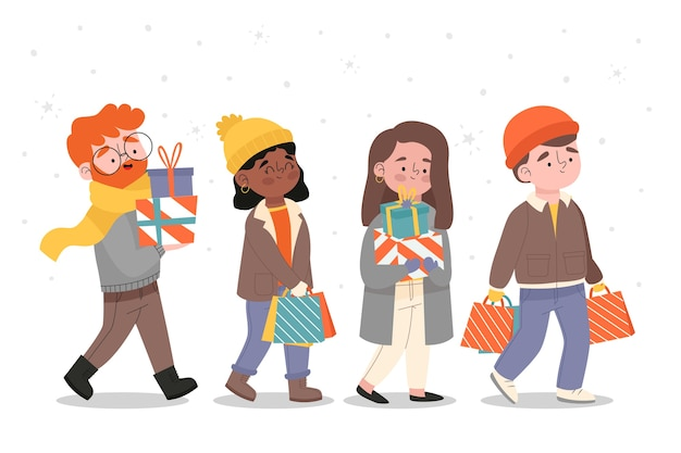 Cartoon wearing winter clothes and buying presents Free Vector