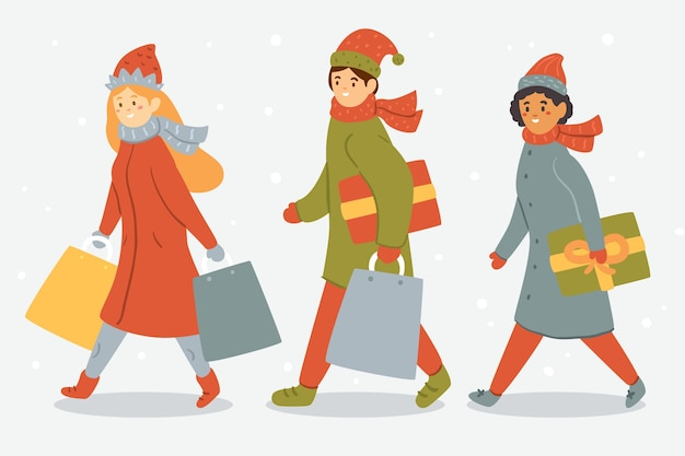 Cartoon wearing winter clothes and having gift bags Free Vector
