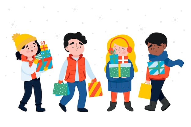 Cartoon wearing winter clothes and holding gift boxes Free Vector