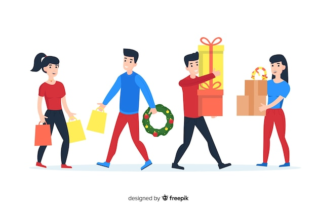 Cartoon wearing winter clothes and holding gifts and wreaths Free Vector