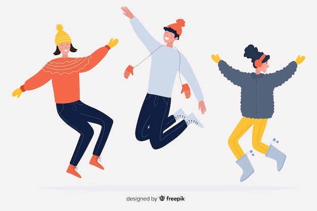 Cartoon wearing winter clothes and jump on white background Free Vector