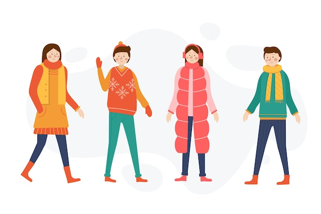 Cartoon wearing winter clothes on white background Free Vector