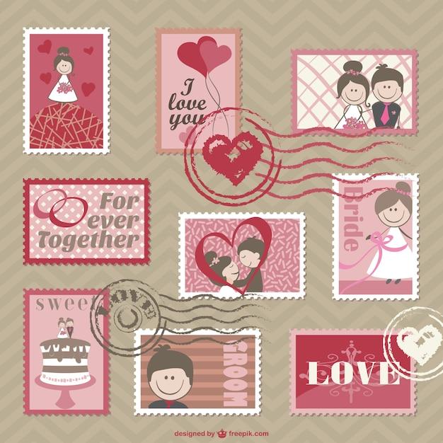 Cartoon Wedding Cards Vector Vector Free Download