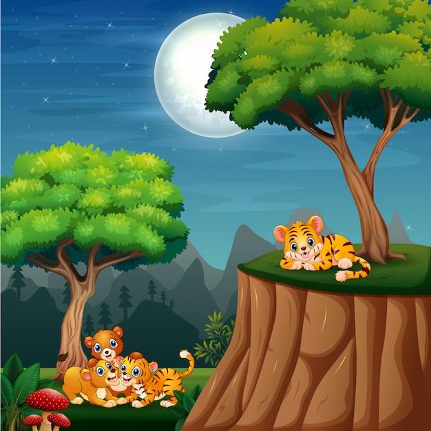 ジャングルで遊ぶ漫画の野生動物のカブス Premiumベクター