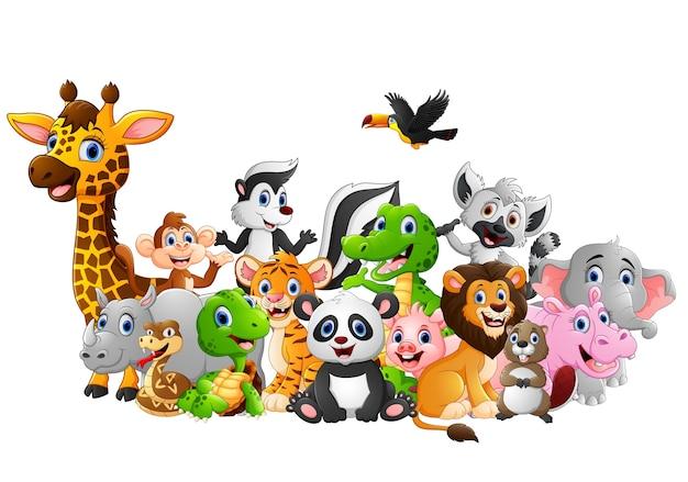 Cartoon wild animals background Premium Vector