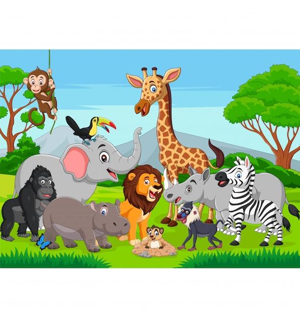 Cartoon wild animals in the jungle Premium Vector