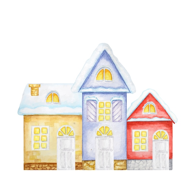漫画の冬のクリスマスの家。赤、黄、青の家の正面図。水彩の新年のグリーティングカードのコンセプト Premiumベクター