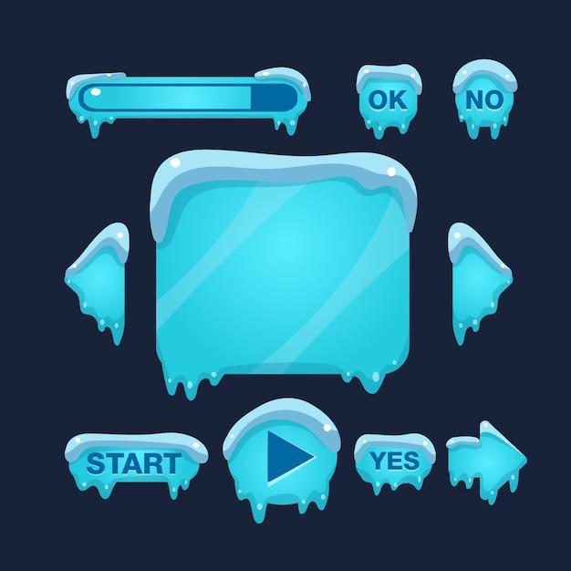 Интерфейс пользователя cartoon winter game Premium векторы
