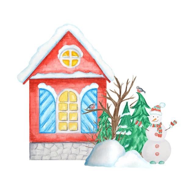 ウソの鳥のカップル、雪だるま、雪の吹きだまり、クリスマスツリーと漫画の冬の家。 Premiumベクター