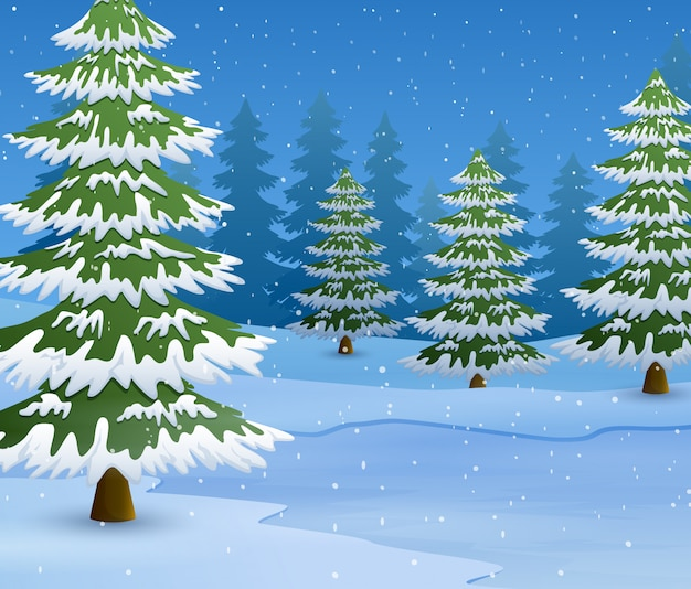 Cartoon of winter landscape with snowy ground and fir trees Premium Vector