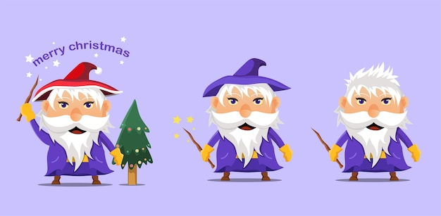 Cartoon witch celebrating christmas. icon. Premium Vector