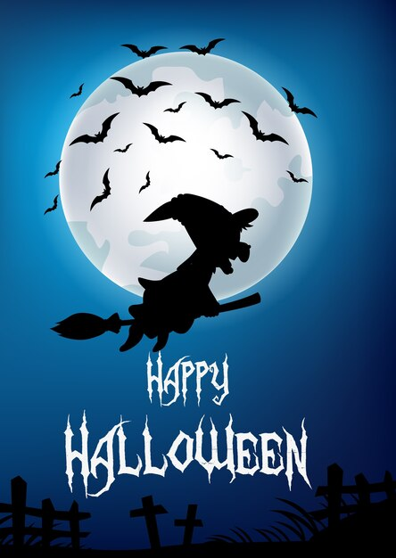 Cartoon witch fly with broom stick on big moon background Premium Vector