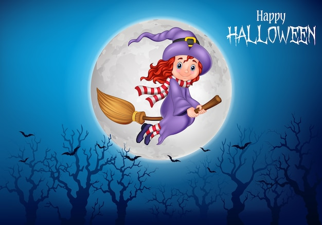 Cartoon witch flying use a broomstick Premium Vector