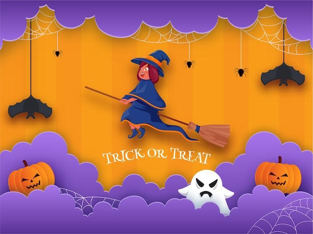 빗자루, 짜증 호박, 유령, 교수형 박쥐, 거미줄 및 보라색 종이로 비행하는 만화 마녀는 속임수 또는 치료를 위해 주황색 배경에 구름을 잘라냅니다. 프리미엄 벡터