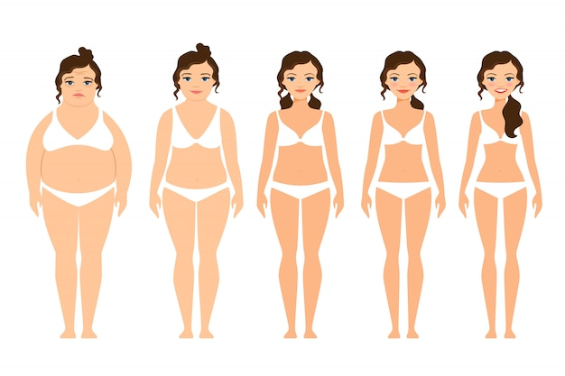 Cartoon woman before and after diet vector illustration Premium Vector