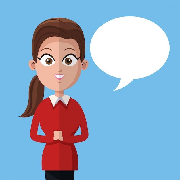 Premium Vector Cartoon Woman Business Manager Work Bubble Speech