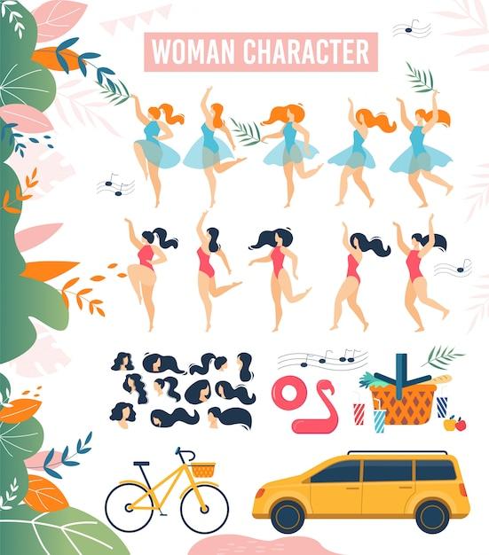 漫画女性キャラクター夏休みフラットセット Premiumベクター