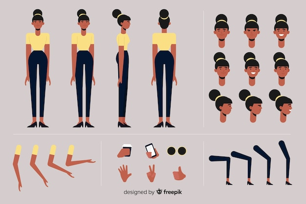 Cartoon woman character template Free Vector