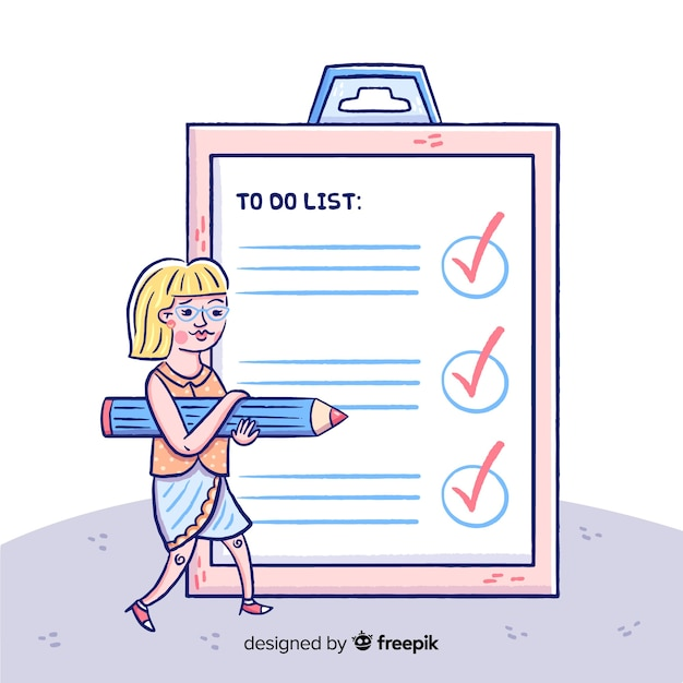 Cartoon woman checking giant check list background Free Vector