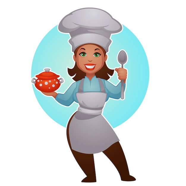 Cartoon woman chef, vector proffessional lady for your mascot Premium Vector
