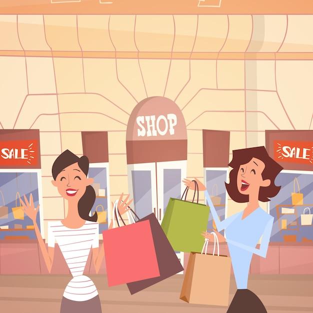 Cartoon woman couple with shopping bag big sale banner retial store exterior Premium Vector