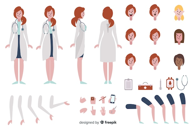 Cartoon woman doctor character template Free Vector