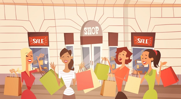 Cartoon woman group with shopping bag big sale banner retial store exterior Premium Vector