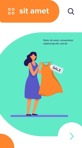 Vestito della holding della donna del fumetto da vendere Vettore gratuito