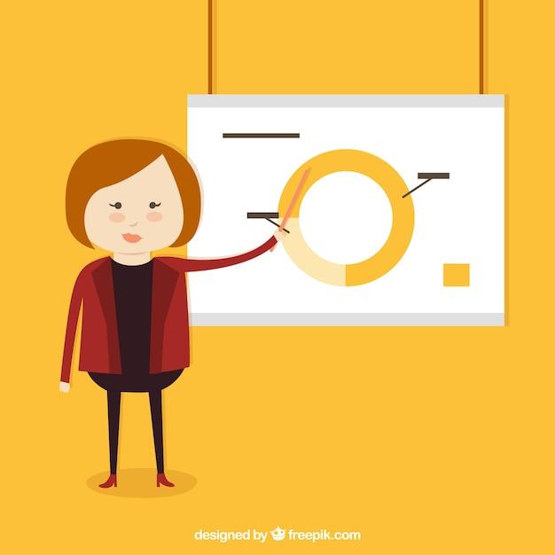 cartoon woman in a presentation vector free download